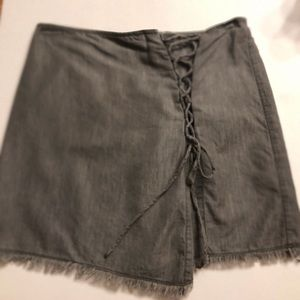 Short Skirt with Lace-up Accent Sz M
